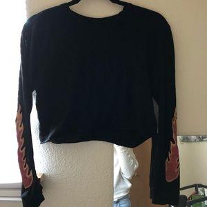 Long sleeve black flame shirt